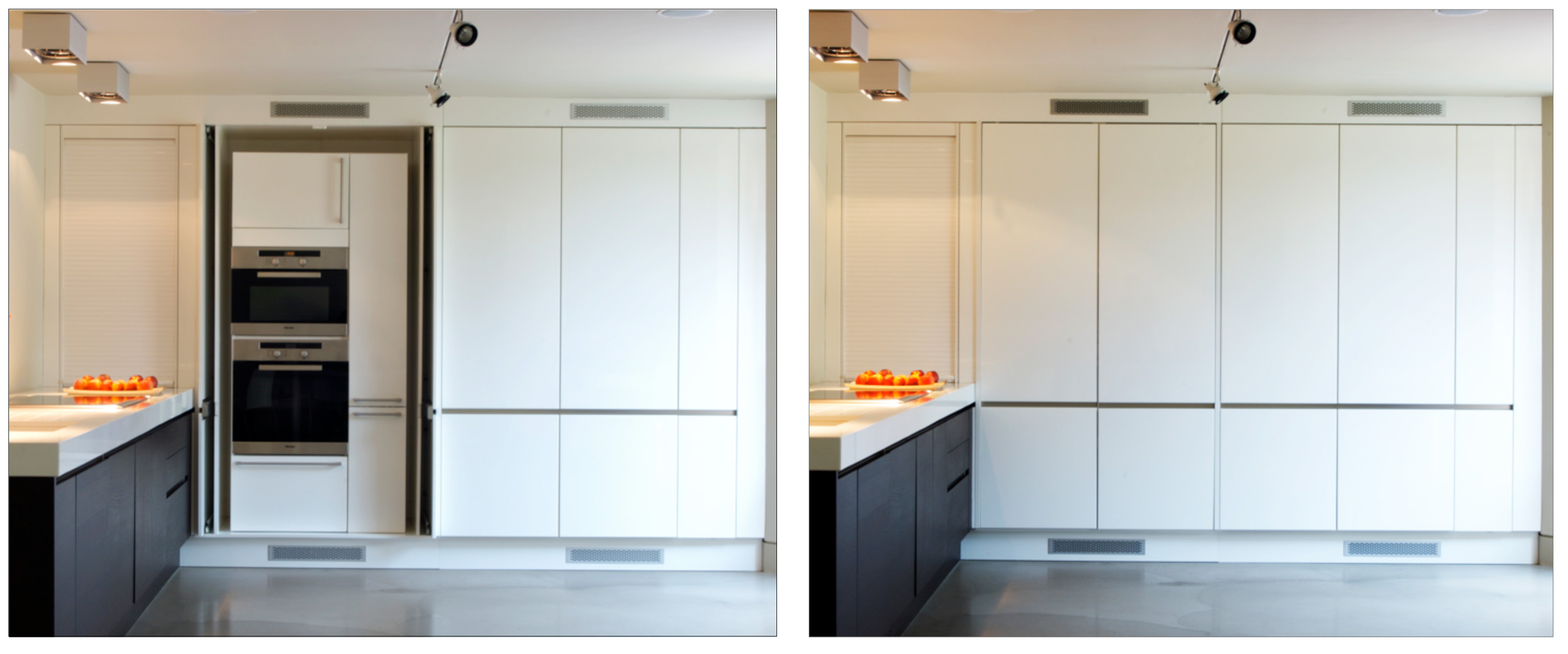 Pocket Doors On Cabinets In The Kitchen