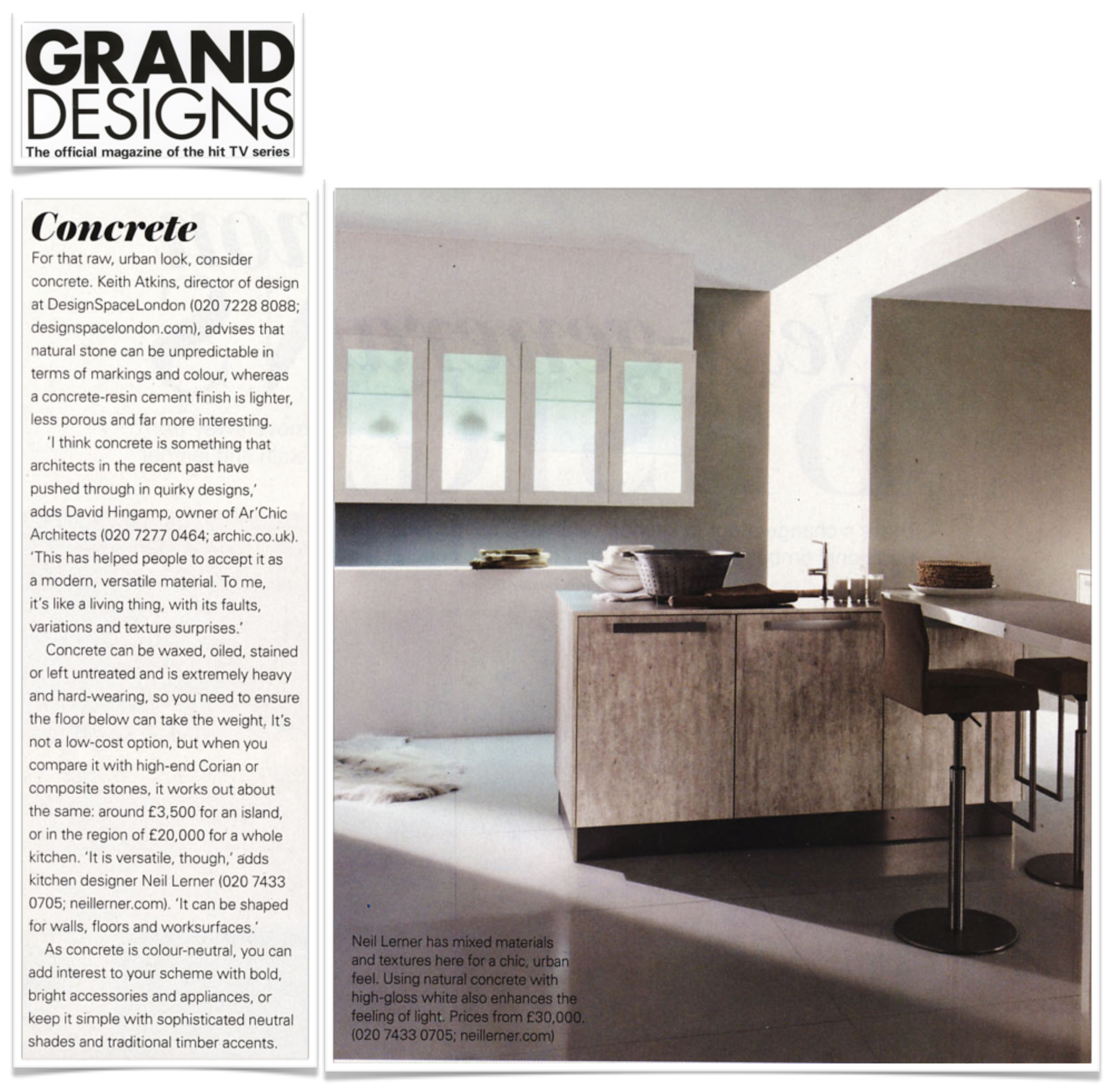 New Modern Kitchens At Neil Lerner: Concrete In The Kitchen?